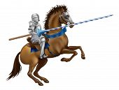 stock photo of armor suit  - Drawing of a jousting knight in armour on horse back - JPG