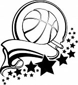Basketball With Pennant & Stars Design