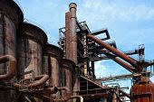 picture of blast-furnace  - old steel close blast furnace under sky - JPG