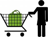 Stick Woman Pushing Shopping Cart With Bag. poster