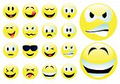 picture of smiley face  - Abstract vector illustration of several smilies over white - JPG