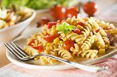 stock photo of pasta  - fresh pasta with tomato sauce close up - JPG
