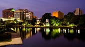 stock photo of alabama  - Night cityscape scene of downtown Huntsville - JPG
