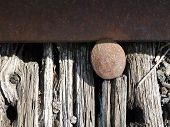 stock photo of transcontinental  - a close up of an old railroad track - JPG