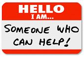 image of counseling  - Hello I Am Someone Who Can Help words written on a nametag sticker or label - JPG