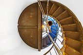 image of mendocino  - stairs of famous Point Arena Lighthouse in California like a shell - JPG