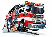 stock photo of ladder truck  - Vector cartoon firetruck - JPG