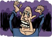 image of outrageous  - cartoon sketch illustration of outraged and scared man - JPG