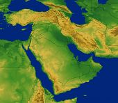 picture of saudi arabia  - Middle East Region Map with Terrain and Ocean - JPG