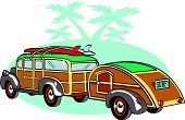 stock photo of teardrop  - Vintage Station Wagon and Teardrop Trailer Auto Clipart - JPG