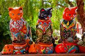 Mexican Colorful Souvenir Ceramic Cats Cactus Pots San Diego California