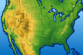 image of usa map  - Continental USA map showing the Rocky Mountains - JPG