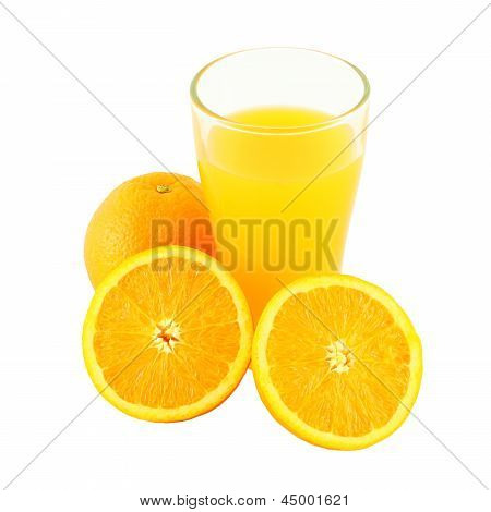 Glass of orange juice and two riped fruit side on white background.