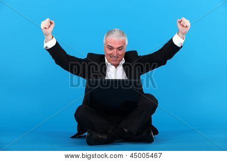 Euphoric businessman