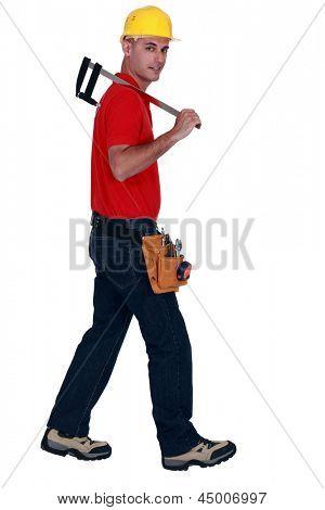 Man holding large caliper