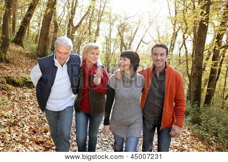 happy foursome gone for a walk