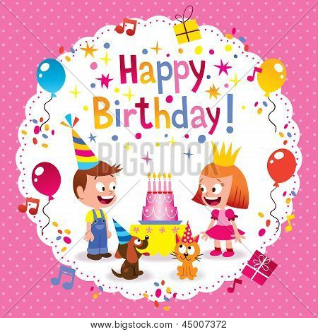 Happy Birthday cute kids card