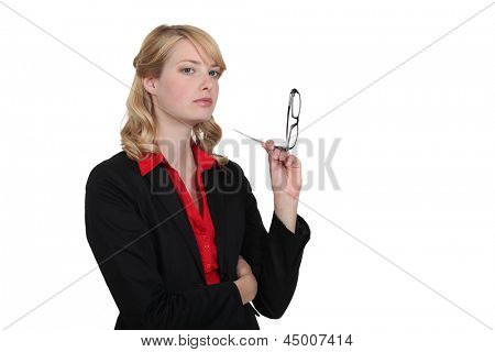 Stern looking blond businesswoman