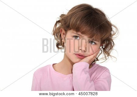 Young girl looking worried