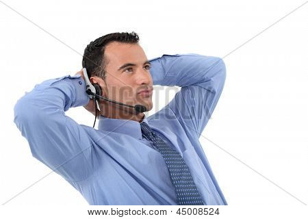 Lazy male call-center operative