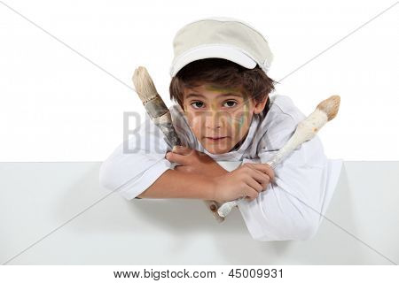 young boy painter