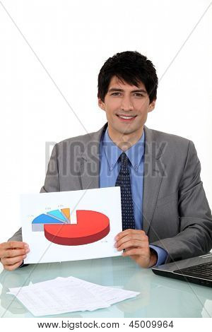 Salesman showing a graph on a document