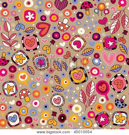 hearts & flowers fun cartoon pattern