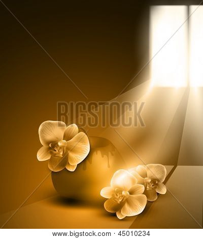 monochrome (sepia) romantic background with vase and orchids