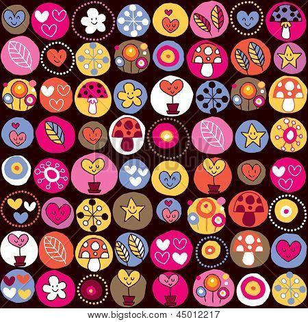 cute hearts, mushrooms & flowers pattern