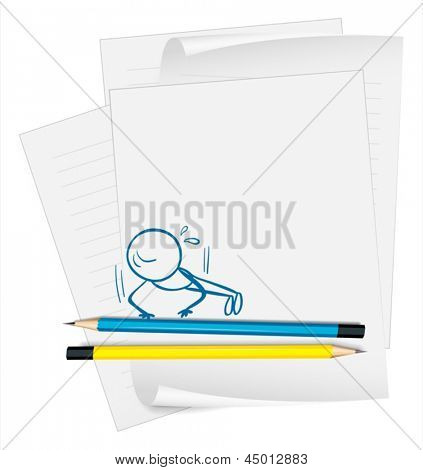 Illustration of a paper with a drawing of a boy doing push-ups on a white background