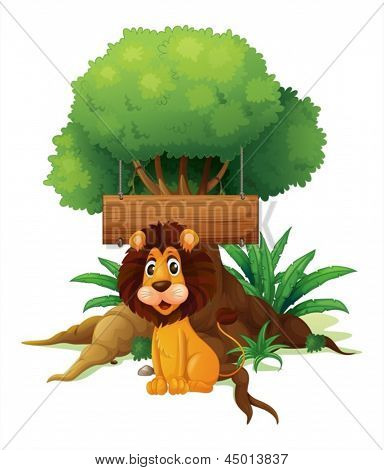 Illustration of a lion in front of an empty wooden signboard on a white background