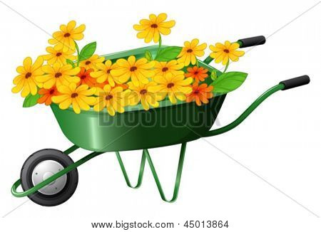 Illustration of a pushcart full of flowers on a white background