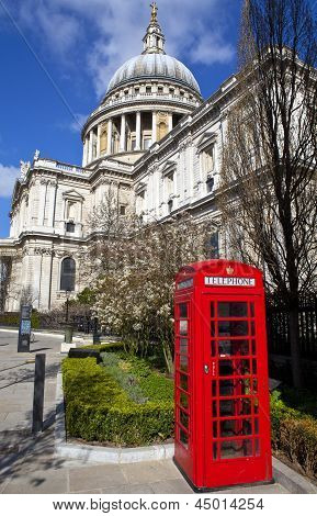 St. Paul's Cathedral And Red Telephone Box In London