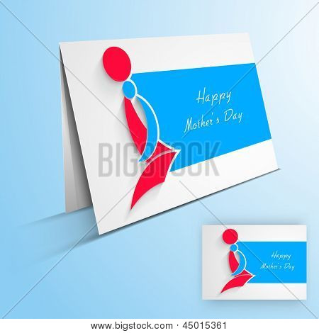 Greeting card or gift card with text Happy Mother's Day and silhouette of a mother and her child.
