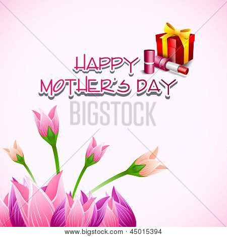 Happy Mothers Day background with flowers and gift boxes.