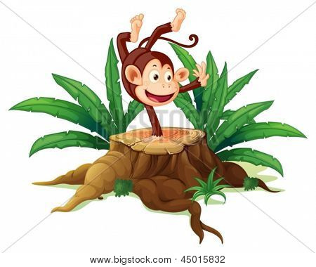 Illustration of a tree with a playful monkey on  a white background