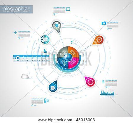 Plantilla de diseño de infografía con las etiquetas de papel. Ideal para Mostrar información, clasificación y estadísticas wi