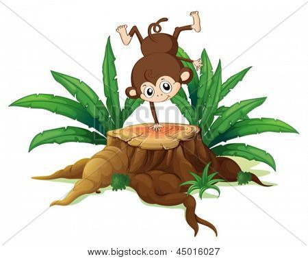 Illustration of a tree with a small playful monkey on a white background