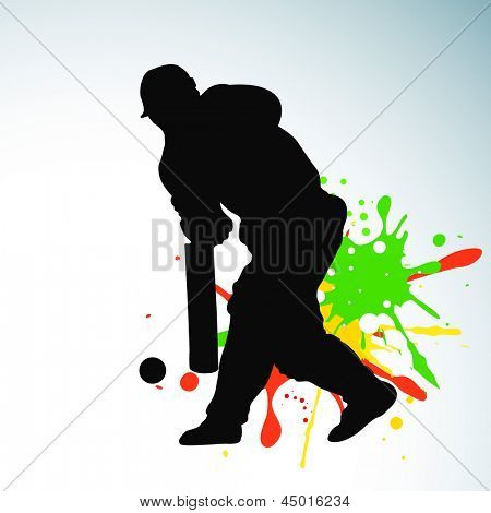 Cricket batsman in playing action on grungy colorful background.
