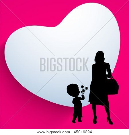 Happy Mothers Day background with silhouette of a mother and her child on heart shape pink background.