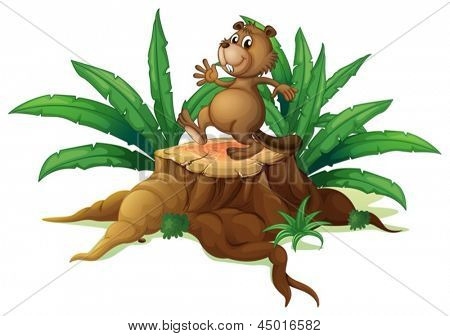 Illustration of a tree with a playful beaver on a white background