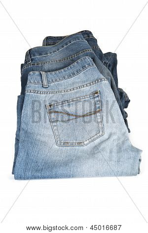 Blue Jeans Isolated Over A White Background