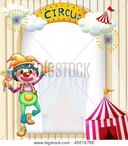 Illustration of a circus entrance with a clown