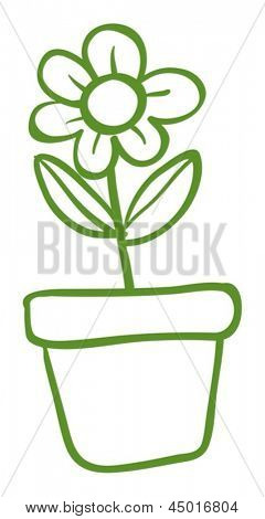 Illustration of a green pot with a green flower on a white background