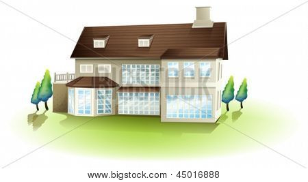 Illustration of a white concrete house on a white background
