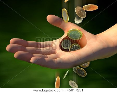Money going through an hole in a man's hand. Digital illustration.