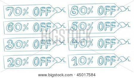 Illustration of the discount price tags on a white background
