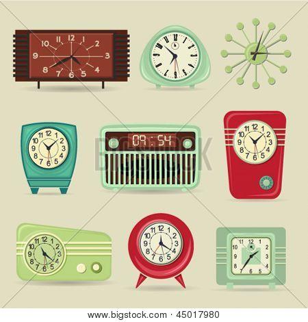 Set of Retro Clocks, including alarm and radio clocks