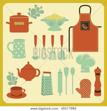 Set of Kitchen Accessories and Utensils, including oven mitt, apron, colander and grater