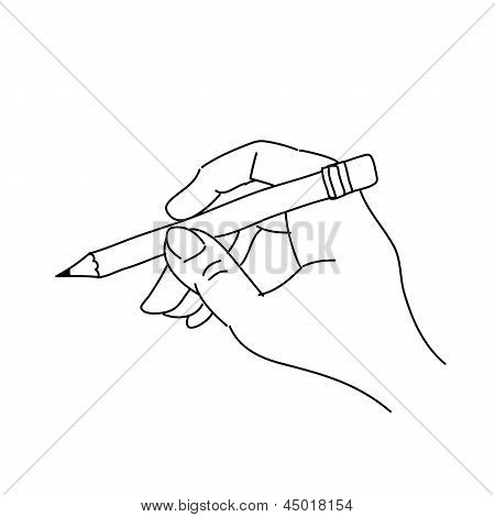 Hand Drawing Hand Holding Pencil